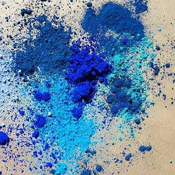 pigments bleus, utiliser des pigments